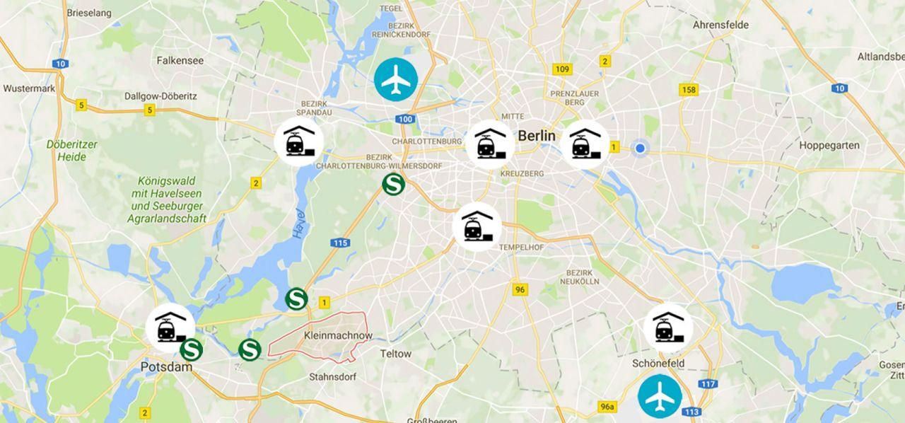 Berlin Potsdam Karte.Günstige Lage Zu Berlin Und Potsdam Karte Residenz118